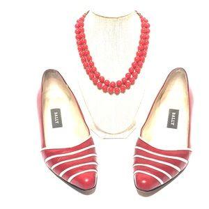 BALLY red striped shoe vintage heel 7.5 Louisa